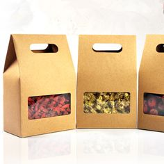 10.5*15+6cm Kraft Paper Tote Bag Gift Packing Box With Handle Clear Square Window Wedding Candy Snack Food Storage Packaging Box