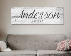 Love this Idea ! Last Name Sign, Family Name Sign, Established Sign, Wedding Sign, Rustic Name Family Wood Signs, Family Name Signs, Wooden Signs, Rustic Signs, Diy Signs, Home Signs, Wood Canvas, Canvas Wall Art, Diy Home Decor For Apartments