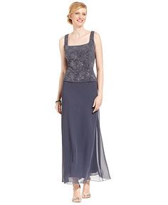Alex Evenings Dress and Jacket, Patterned Sparkle Evening Dress - Dresses - Women - Macy's