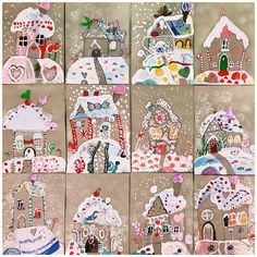 christmas. gingerbread house on craft paper