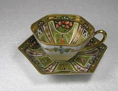 Art Nouveau Nippon Noritake Hexagonal Cup and Saucer a work of art