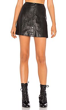 THE JETSET DIARIES Saraya Leather Skirt in Black