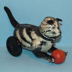 Vintage Old Rare Lithographed Child Tin Cat Toy with Ball Lever Action C1940s #Unsigned