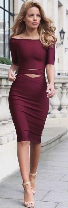 #summer #stylish #fashion | Burgundy Two Piece Bandage Dress + Nude Strappy Sandals Source