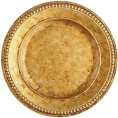 Pier 1 Imports Golden Chania Charger Plate ($11) ❤ liked on Polyvore featuring home, kitchen & dining, dinnerware, gold, antique dinnerware, outdoor dinnerware, pier 1 imports, antique charger plates and polish dinnerware