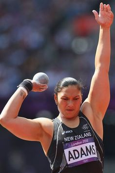 New Zealand's Valerie Adams in action during the Women's Shot put qualifying at The Olympic Stadium