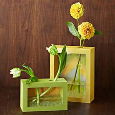 DIY Flower Vases That Are Chic  If you are feeling more ambitious, our next DIY planter by Lowes requires a little bit more time but is worth the effort. By making a box out of PVC trim board and clear Lexan, you will have a unique, handcrafted vase with a personalized flair. Handcraft two or three in various sizes to make a lovely table centerpiece.