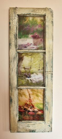 bad rabbit vintage - painted furniture with attitude : A garden window using transparencies as the pictures.