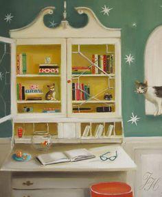 Cat Burglar Print From Original Oil Painting by janethillstudio