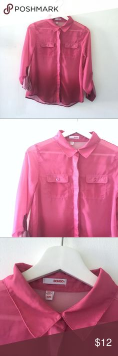 Bongo Ombre Button Up Top Pointed collar  Two front pockets with buttons  Ombré dye pink Curved hem  Buttons down front hidden  Color: Pink to Desert Pink   Size: Medium  Length: 23.5in   No Pets  Non-Smoking home  Every item steamed throughly before shipped!  Ships from Santa Monica, CA BONGO Tops Button Down Shirts