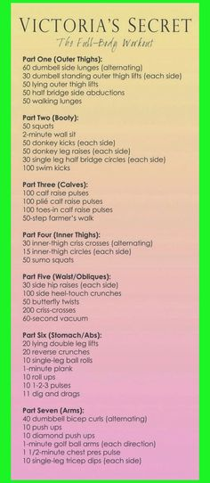 Weight Loss Infographics: Victoria Secret Workout                                                                                                                                                                                 More