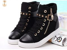 Hot Women Casual Sneakers Rivets Buckle Zipper Walking Sport Canvas Shoes