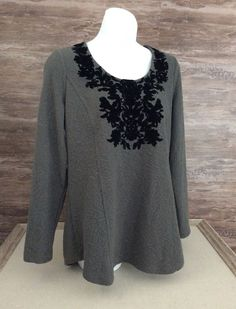 Soft Surroundings Gray with Velvet Flocked Tunic Top sz Small Stretch #SoftSurroundings #Tunic #Everyday