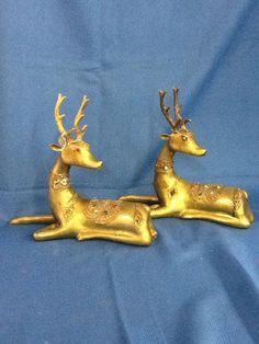Vintage Brass With Rhinestones Reindeer Christmas Holiday Deer Very Heavy!