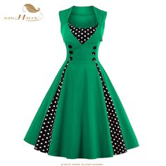 SISHION 2017 New 50s 60s Retro Vintage Dress Audrey Hepburn Sleeveless  Spring Summer Patchwork Plus Size f559e4a611f