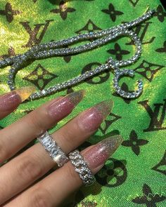 mmirandalaurenn - shimmer nails n louis vuitton print Dark Green Aesthetic, Boujee Aesthetic, Rainbow Aesthetic, Aesthetic Collage, Aesthetic Pictures, Green Aesthetic Tumblr, Aesthetic Women, Aesthetic Clothes, Image Bleu