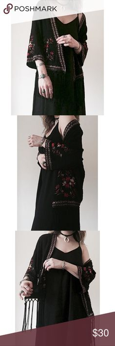 Floral Embroidered Silky Boho Kimono with Fringe 🌻🌻👁🌻🌻  I try to exhibit each item in my closet as accurately as possible (color, sizing, etc.) I am more than happy to provide measurements and additional item information as needed.  Your order ships same or next business day.  Questions or inquiries? Feel free to gimme a shout!  Price is always negotiable; however, please offer respectfully. Thank you! ✌🏻️ Urban Outfitters Sweaters Shrugs & Ponchos