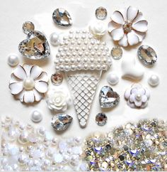 Sale -- DIY 3D Ice Cream Bling Bling  Kawaii Resin Flatback Decoden Cabochons Cell Phone Case Deco Kit