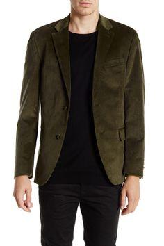 Olive Green Two Button Notch Lapel Slim Fit Corduroy Sport Coat