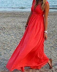 Damen Kleider Strandkleid ININUK Lang Chiffon Partykleid Elegant Strand Maxikleid Sommerkleid Rot