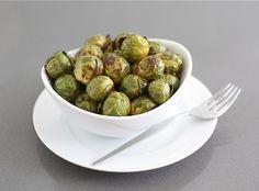 Roasted Brussels Sprouts, olive oil, balsamic vinegar, season, 400 oven, 30-35 min on baking sheet.