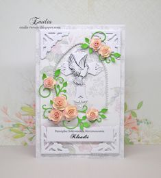 Emilia tworzy: Kartka na bierzmowanie/Card for confirmation Creative Flower Arrangements, Confirmation, Easter, Frame, Card Ideas, Flowers, Cards, Decorated Cookies, Picture Frame