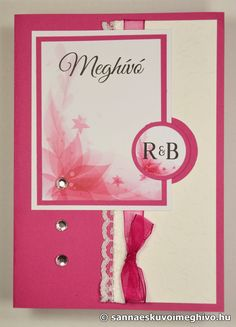 Ciklámen esküvői meghívó, meghívó, csipkés esküvői meghívó, rózsaszín esküvői meghívó, szalagos esküvői meghívó, sannaeskuvoimeghivo, egyedi esküvői meghívó, wedding card
