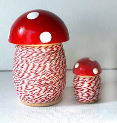 BIG Toadstool Spool. With Stripey Twine. Single. Choice of | Etsy Paperclay, Bakers Twine, Raspberry, Red And White, Stuffed Mushrooms, Candle Holders, Design Inspiration, Diy Crafts, Hand Painted