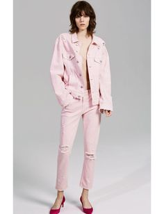Pink Denim Jacket and Jeans from Zara
