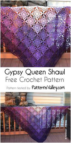 Gypsy Queen Shawl [Free Crochet Pattern] #crochet #crochetpattern #shawl #fashion #summer #style #craft #handmade #sunnylook #flower #motif #yarns