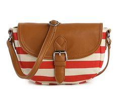 Poppie Jones Canvas Stripe Messenger Shoulder Bag 18