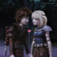 Hiccup and Astrid holding hands and looking at each other. How romantic!