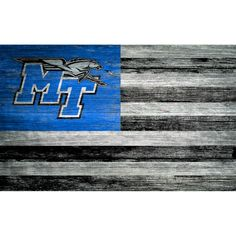 You are as loyal to your team as you are your country. Show your respect with an art piece that reflects your heart and soul. This handsome wooden decorative piece is crafted with real wood then distressed to give it a vintage appeal. Raiders Flag, St Blues, Flag Signs, Weathered Wood, Real Wood, Tennessee, Art Pieces, Wall Decor, Specs