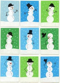 Art Projects for Kids: Sticker Snowmen Art Trading Cards. Made with mailing stickers and skinny markers.