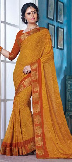 Casual Yellow color Saree in Faux Georgette fabric with Printed work Casual Saree, Georgette Fabric, Sarees, Printed, Yellow, Color, Fashion, Moda, Fashion Styles