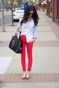 gingham shirt + colored jeans