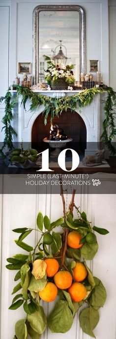 "It's never too early to get started, and these ""last-minute"" tips take almost no time at all! Here are ten decorating ideas that are beautiful, modern, and almost shamefully easy to execute. If you don't have the space, or the time, to decorate a whole Christmas tree, ideas like a cut branch in a pretty vase makes a lovely alternative."