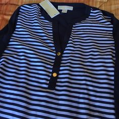 MICHAEL KORS navy & white striped blouse BRAND NEW with tags, light weight top with gold button accents on the sleeve to crop them as well as down the middle. Very cute with white shorts/pants and a red pair of boat shoes  Michael Kors Tops Blouses
