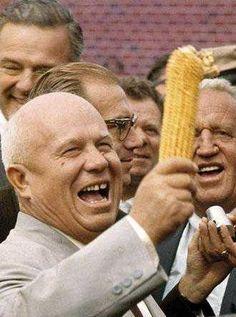 Nikita Khrushchev Holding Up Corn, Moscow 1959