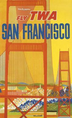 TWA San Francisco Poster by David Klein 1950 / 1960s