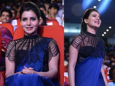 Samantha with a cape in rabhasa audio launch