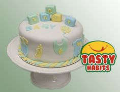 """Cake; 8"""" covered in fondant  Designs and prices are based on customer preferences. Please contact us for a different color, size, or cake toppers. After placing an order you can send us the text to be put on cake. You can also choose cake type: Chocolate, Vanilla, Marble, Fruits, or Red Velvet. For a different design please contact Tasty Habits at: sales@tastyhabits.com - 1-800-385-1423. (Special cakes are also available: Dairy free, Nuts free, Gluten free...)"""