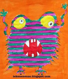 happy monster tekenles
