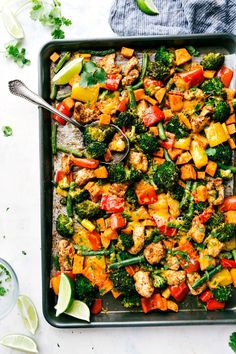 The key to success with this sheet pan meal is to buy a small sweet potato and microwave it first before dicing and adding it to the sheet pan. This way, the potato will be perfectly cooked alongside the chicken breast, broccoli, bell pepper, and green beans.