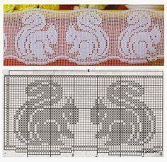 *** Risultati immagini per cenefas a crochet patrones Filet Crochet Charts, Crochet Borders, Crochet Cross, Knitting Charts, Crochet Home, Thread Crochet, Crochet Patterns, Crochet Curtains, Crochet Doilies