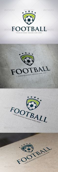 Football Logo Template  #GraphicRiver         - Three color version: color, greyscale and single color.   - The logo is 100% resizable.   - You can change text and colors very easy using the named and organized layers that includes the file.   - The typography used is Trajan Pro a system default font.                         Created: 5 December 13                    Graphics Files Included:   Vector EPS #AI Illustrator                   Layered:   Yes                   Minimum Adobe CS…