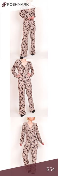 "Free People Lisa Crepe floral print jumpsuit Free People ""Lisa Crepe"" jumpsuit in almond combo. Floral print. Wide leg empire waist fit.  Small flaw with threading near side zipper most likely a snag catch from zipping. Shown in last photograph. Missing size tag, please see measurements for fit. Estimated S/M Item photographed is of the item for sale. Model stands 5'4 for reference.  Shoulder-14 Sleeve-23 Bust-34 Waist-26 Hips-32 Rise-13 Inseam-28 Length-56 Free People Pants Jumpsuits…"