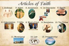 Poster to help with memorizing what each Article of Faith is about