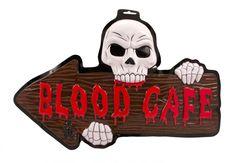 Har du åbnet din egen lille gyser cafe til Halloween, eller vil du gerne vise hvor de døde kan stille deres tørst, så køb dette dekorative skilt.