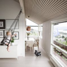 A Raked Ceiling And A Swing With A View! We Love This Modern Family Home